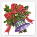 Navidad Bell de plata Pegatina Cuadrada