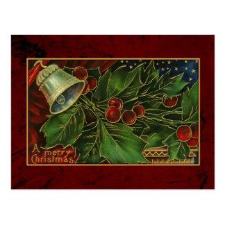 Navidad Bell del vintage y acebo Postales