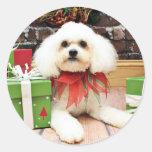 Navidad - Bichon Frise - Hermie Etiqueta Redonda