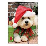 Navidad - Bichon Frise - margarita Tarjetas