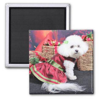 Navidad - Bichon Frise - Mia Imán Para Frigorifico