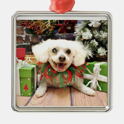 Navidad - Bichon Frise - taleguilla Adorno Cuadrado Plateado