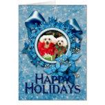 Navidad - Bichon Frise - taleguilla y P.J. Tarjetas