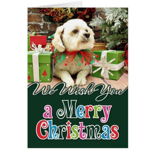 Navidad - Bichon Frise - Woody Tarjeta