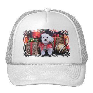 Navidad - Bichon Frise X - panda Gorros Bordados
