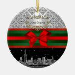 Navidad blanca del arco del damasco #3 de la plata ornamentos de navidad