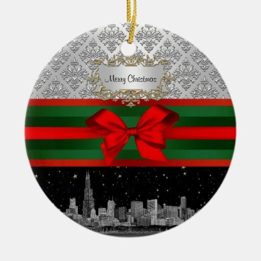 Navidad blanca del arco del damasco #3 de la plata adorno redondo de cerámica