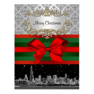 Navidad blanca del damasco 3 de la plata del hori postal