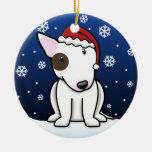 Navidad blanco de bull terrier del dibujo animado  adornos