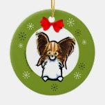 Navidad blanco de Papillon del Sable clásico Adorno Navideño Redondo De Cerámica