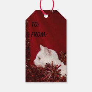 Navidad blanco del gato del gatito etiquetas para regalos