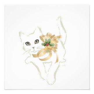 Navidad blanco del gato invitaciones personales