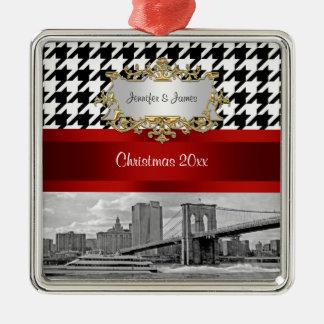 Navidad blanco del negro Houndstooth del puente de Adorno Cuadrado Plateado