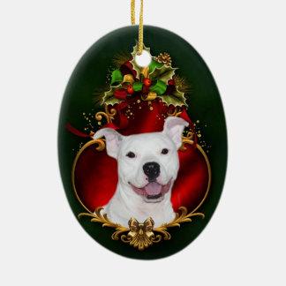 Navidad blanco del pitbull adorno navideño ovalado de cerámica
