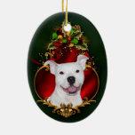 Navidad blanco del pitbull adorno ovalado de cerámica