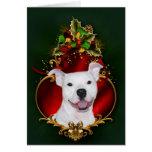 Navidad blanco del pitbull tarjeta de felicitación