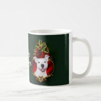 Navidad blanco del pitbull taza básica blanca