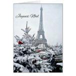 Navidad blanco francés tarjetón