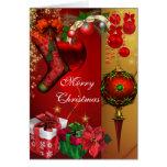 Navidad blanco rojo del feliz oro de Navidad de la Tarjetón