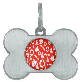 Navidad blanco rojo placa mascota