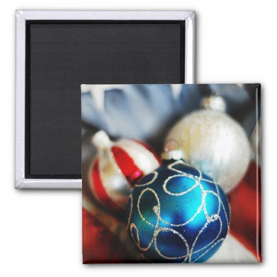 Navidad blanco y azul rojo imán cuadrado