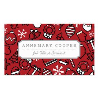 Navidad blanco y modelo rojo de los caracteres tarjetas de visita