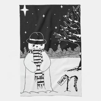 Navidad blanco y negro del diseño lindo del muñeco toalla