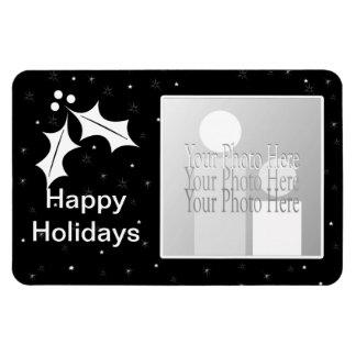Navidad blanco y negro (marco de la foto) imanes rectangulares