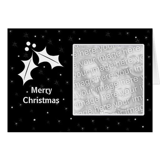 Navidad blanco y negro (marco de la foto) tarjetón