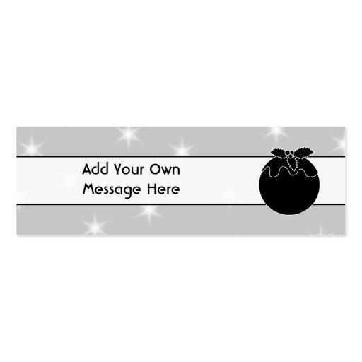 Navidad blanco y negro pudín y estrellas plantillas de tarjetas personales