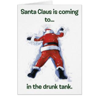Navidad borracho de Santa Tarjeta De Felicitación