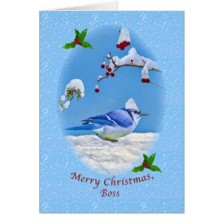 Navidad, Boss, pájaro azul y nieve Tarjeta De Felicitación