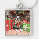Navidad - Boston Terrier - elegante Llavero Personalizado