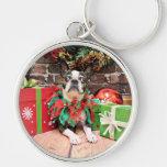 Navidad - Boston Terrier - elegante Llaveros