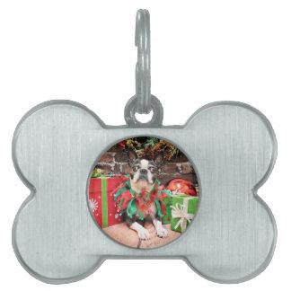 Navidad - Boston Terrier - elegante Placas De Nombre De Mascota