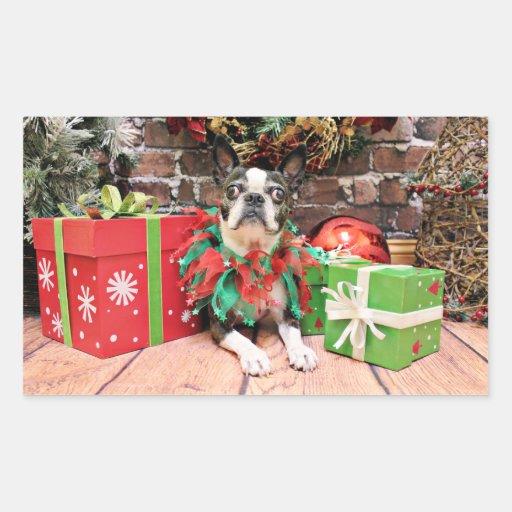 Navidad - Boston Terrier - elegante Rectangular Pegatinas