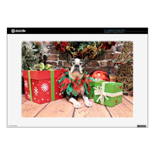 Navidad - Boston Terrier - elegante Portátil Skins