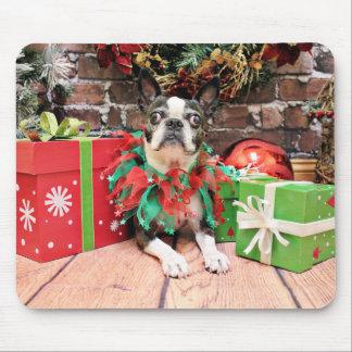 Navidad - Boston Terrier - elegante Tapetes De Ratones