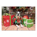Navidad - Boston Terrier - elegante Tarjeton