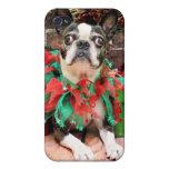 Navidad - Boston Terrier - Ny iPhone 4 Fundas