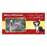 Navidad Boston Terrier Tarjeta Personal Con Foto