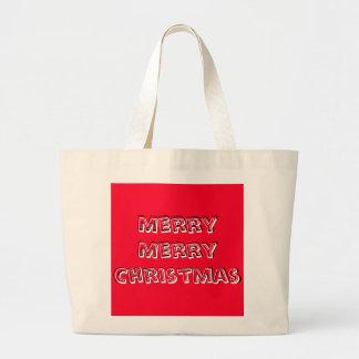 Navidad brillante del rojo del feliz diseñador de bolsa tela grande