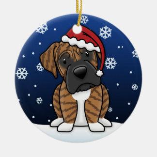 Navidad Brindle del boxeador del dibujo animado de Adorno De Reyes