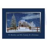 Navidad, Brother y familia, escena del invierno Tarjeton