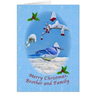Navidad, Brother y familia, pájaro azul y nieve Tarjeta De Felicitación