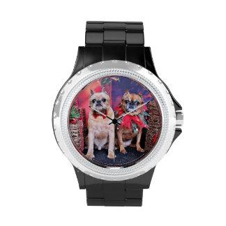 Navidad - Bruselas Griffon - Marv y Marge Relojes De Mano