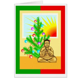 Navidad Buda con el árbol Tarjeton