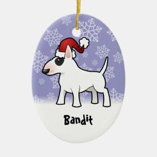 Navidad bull terrier (añada su nombre de mascotas) ornamento para arbol de navidad