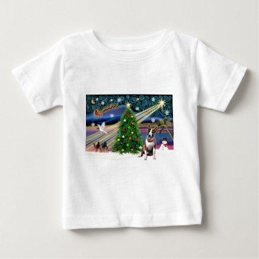 Navidad bull terrier (brindle) playera