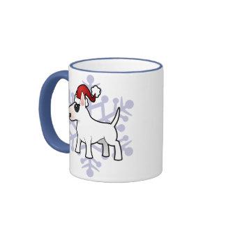 Navidad bull terrier taza a dos colores